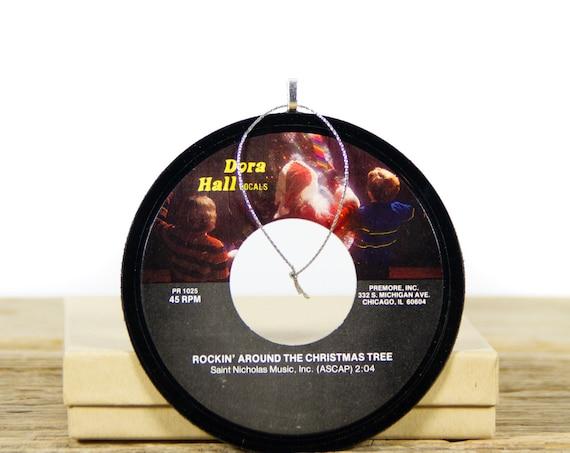 Vintage Rockin' Around The Christmas Tree Vinyl Record Christmas Ornament / Santa Ornament / Unique Vinyl Record Gift / Handmade Ornament