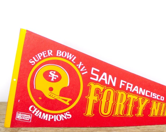 Vintage San Francisco Forty Niners Pennant / Super Bowl Forty Niners Collectible / Large NFL -National Football League Souvenir Felt Pennant