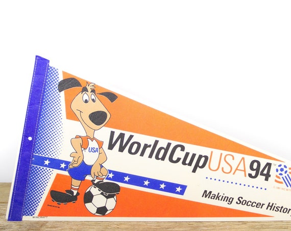 Vintage World Cup Pennant / 1994 USA Soccer World Cup Collectible / Large NFL Souvenir Felt Pennant
