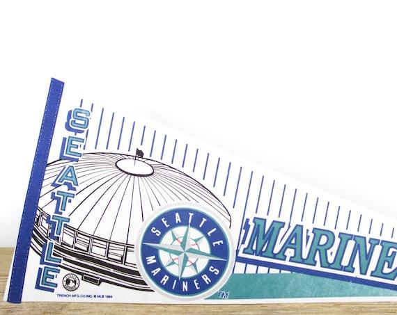 Vintage Seattle Mariners Pennant / Mariners Collectible / Large MLB Baseball Souvenir Felt Pennant