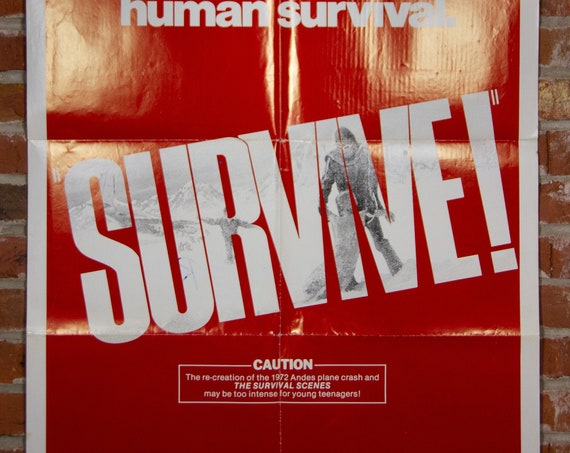 """Survive! - Rugby Andes Plane Crash Movie Poster from 1976 starring Robert Redford - Original 27"""" X 41"""" (1) One Sheet Folded Poster"""