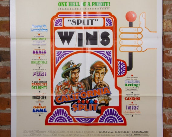 "California Split (Style B) Movie Poster from 1974 starring Robert Altman, George Segal - Original 27"" X 41"" (1) Sheet Folded Poster - Comedy"