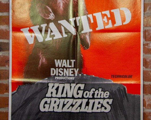 """Walt Disney King of the Grizzlies Movie Poster from 1970- Original 27"""" X 41"""" (1) One Sheet Folded Movie Poster - Western, Family, Nature"""
