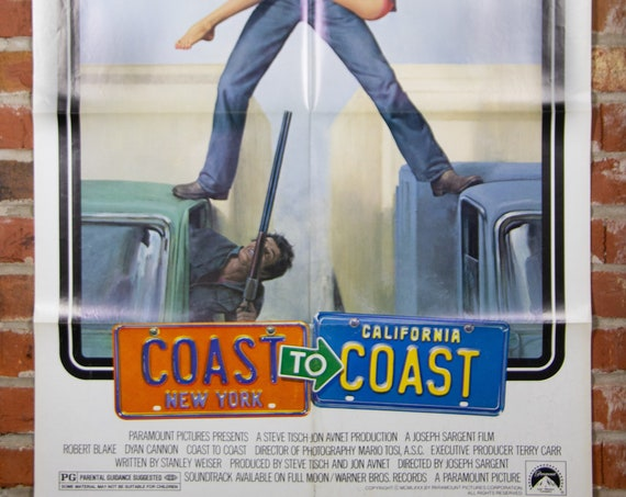 """Coast to Coast Movie Poster from 1980 - Original 27"""" X 41"""" (1) One Sheet Theater Folded Poster - Comedy Drama Romance Movie Poster"""