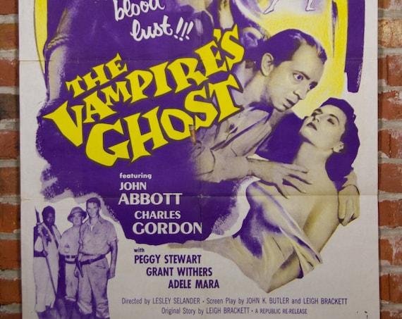 "1957 The Vampire's Ghost Movie Poster - Original 1957 27"" X 41"" (1) One Sheet Folded Movie Poster - Vampire, Horror Movie Poster"