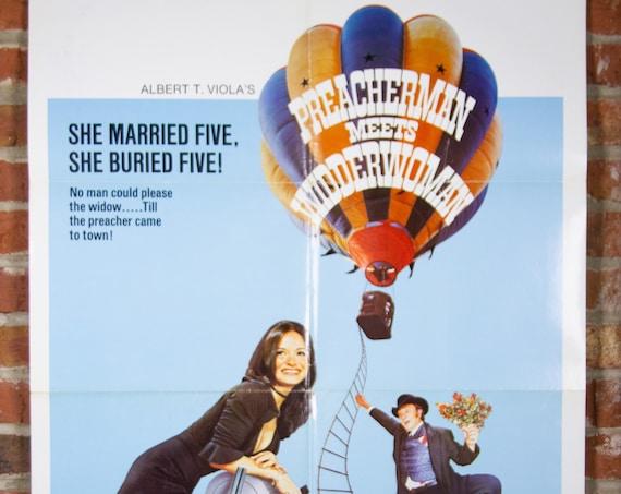 "Preacherman Meets Widderwoman Movie Poster from 1973 - Original 27"" X 41"" (1) One Sheet Theater Folded Poster -Comedy Hot Air Balloon Poster"