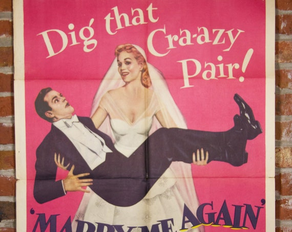 """1953 Marry Me Again Movie Poster - Original 1953 27"""" X 41"""" (1) One Sheet Folded Movie Poster - Comedy, Wedding Dress, Wedding Poster"""