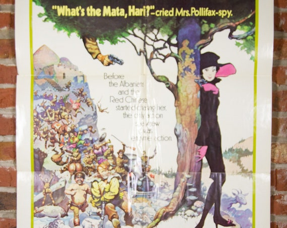 """Mrs. Pollifax-Spy Movie Poster from 1971 - Original 27"""" X 41"""" (1) One Sheet Theater Folded Poster -Comedy Hot Air Balloon Poster"""