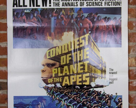 """Conquest of the Planet of the Apes from 1972 - Original 27"""" X 41"""" (1) One Sheet Folded Movie Poster - Sci-Fi Movie, Adventure"""