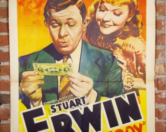 "1944 Small Town Boy Stuart Erwin Movie Poster - Original 1944 27"" X 41"" (1) One Sheet Folded Movie Poster - Comedy, Drama, Romance"