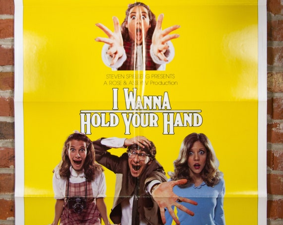 """I Wanna Hold Your Hand Movie Poster from 1978 by Stephen Spielberg - Original 27"""" X 41"""" (1) One Sheet Theater Folded Poster - The Beatles"""
