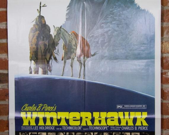 "Winterhawk from 1975 - Original 27"" X 41"" (1) One Sheet Folded Movie Poster - Indian, Cowboy, Western, Adventure"