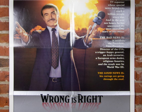 """Wrong Is Right Movie Poster from 1982 starring Sean Connery - Original 27"""" X 41"""" (1) One Sheet Theater Folded Poster -Comedy Drama Thriller"""