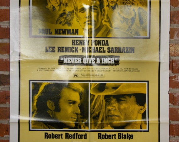 """Never Give A Inch and Willie Boy Combo Movie Poster from 1976 starring Robert Redford - Original 27"""" X 41"""" (1) One Sheet Folded Poster"""