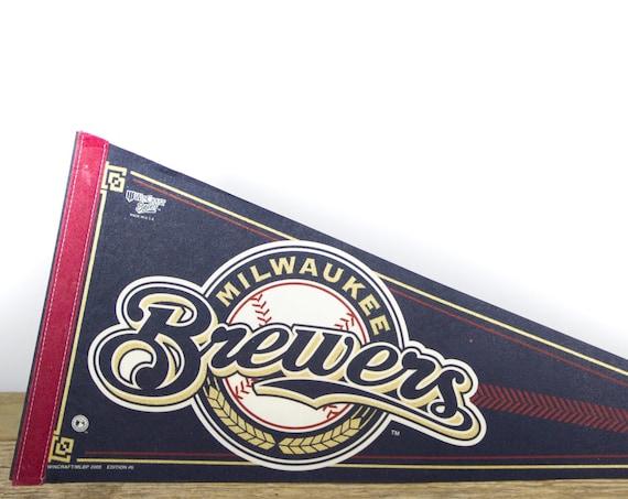 Vintage Milwaukee Brewers Pennant / Brewers Collectible / Large MLB Baseball Souvenir Felt Pennant