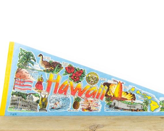 Vintage Hawaii Felt Pennant / Waikiki Beach Pennant / Vintage Felt Pennant / Pennant Banner / Pennant Flag / Pennant Decor