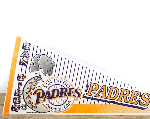 Vintage San Diego Padres Pennant / Padres Baseball Club Collectible / Large MLB Baseball Souvenir Felt Pennant