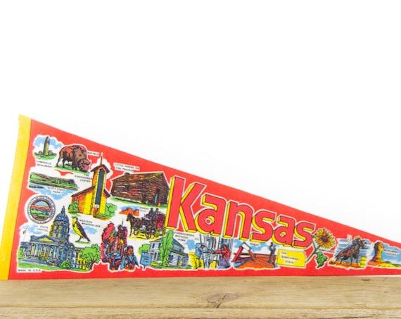Vintage Kansas Destination Felt Pennant / Dodge City Pennant / Vintage Felt Pennant / Pennant Banner / Pennant Flag / Pennant Decor