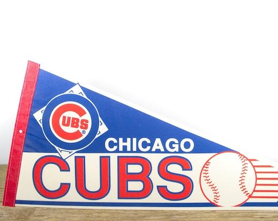 Vintage Chicago Cubs Pennant / Cubs Collectible / Large MLB Baseball Souvenir Felt Pennant
