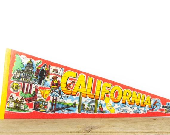 Vintage California Destination Felt Pennant / Golden Gate Pennant / Vintage Felt Pennant / Pennant Banner / Pennant Flag / Pennant Decor