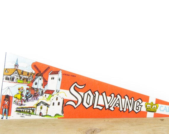 Vintage California Solvang Felt Pennant / Santa Inez Mission Pennant / Vintage Felt Pennant / Pennant Banner / Pennant Flag / Pennant Decor