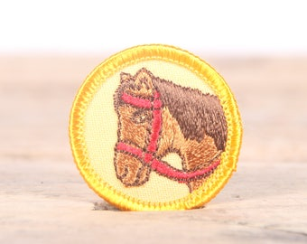 """Vintage Girl Scout Patch / 1970's-80's Scout Patch / Yellow Horse Animal Old Stock Scout Patch / 1.5"""" Girl Scouts Patch / Scout Badge"""