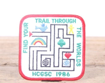 Vintage Girl Scout Patch / 1986 Scout Patch / Find Your Trail Through The World Scout Patch / Girl Scouts Patch / Boy Scout Patch