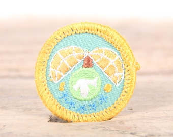 "Vintage Girl Scout Patch / 1970's-80's Scout Patch / Yellow Palm Tree Nature Patch Old Stock / 1.5"" Girl Scouts Patch / Scout Badge"