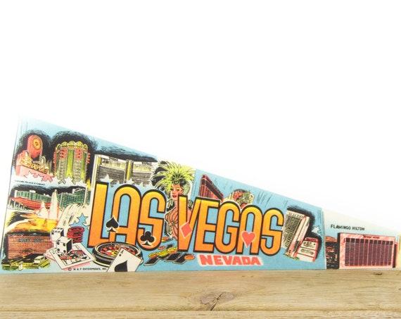 Vintage Las Vegas Nevada Felt Pennant / Flamingo Caesars Pennant / Vintage Felt Pennant / Pennant Banner / Pennant Flag / Pennant Decor
