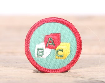 "Vintage Girl Scout Patch / 1970's-80's Scout Patch / Red Green ABC Old Stock Scout Patch / 1.5"" Girl Scouts Patch / Scout Badge"