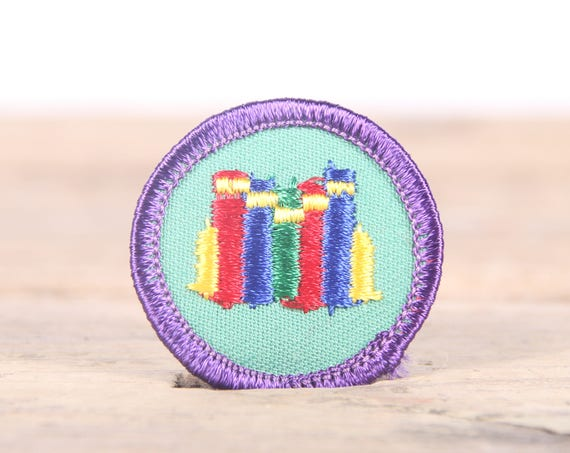 """Vintage Girl Scout Patch / 1970's-80's Scout Patch / Purple and Green Old Stock Scout Patch / 1.5"""" Girl Scouts Patch / Scout Badge"""
