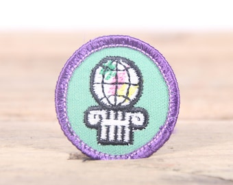 "Vintage Girl Scout Patch / 1970's-80's Scout Patch / Purple Green Globe World Old Stock Scout Patch / 1.5"" Girl Scouts Patch / Scout Badge"