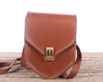 Vintage Leather Bag / M & D Bag / Handmade Leather Bag / Small Antique Brown Leather Bag / Vintage Luggage Bag