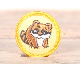 "Vintage Girl Scout Patch / 1970's-80's Scout Patch / Yellow Raccoon Nature Animal Patch Old Stock / 1.5"" Girl Scouts Patch / Scout Badge"