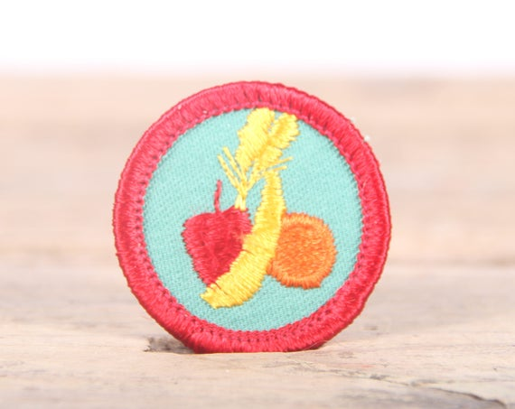 """Vintage Girl Scout Patch / 1970's-80's Scout Patch / Red and Green Fruit Old Stock Scout Patch / 1.5"""" Girl Scouts Patch / Scout Badge"""