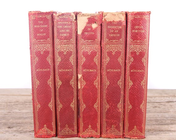 1905 Muhlbach Book Set / Appleton & Company / Antique Red Books / Antique History Books / Old Books Vintage Books / Old Red Books