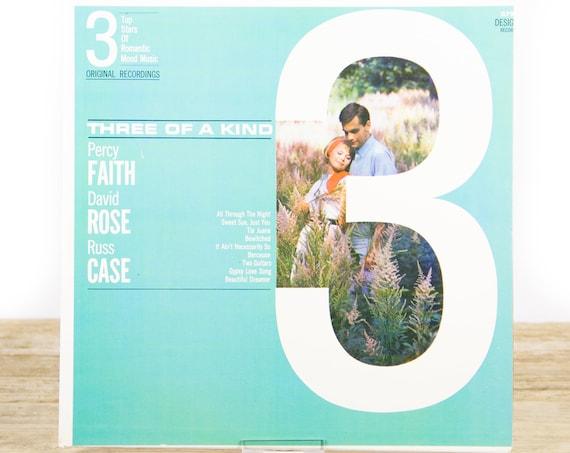 Vintage Percy Faith / David Rose / Russ Case / Three Of A Kind / 3 Top Stars Of Romantic Mood Music / LP 1963 Vinyl LP / Pop