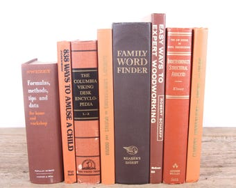 Books by Color / Orange and Brown Books / Old Books Vintage Books / Decorative Books / Vintage Mixed Book Set /Books for Decor Antique Books