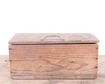Vintage Wooden ToolBox / Large Wood Storage Box / Wood Tool Box / Tool Display Prop / Unique Storage / Unique Mens Gift Primitive Box