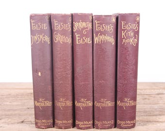 1800's Elsie's by Martha Tinley 5 Book Set / Old Red Antique Books / Dodd, Mead & Company / Old Antique Books / Vintage Red Books Red Decor