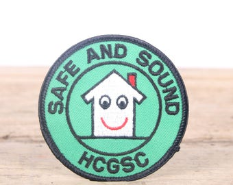 Vintage Scout Patch / 1980s Safe and Sound HCGSC Patch / Girl Scout Patch / Boy Scout Patch / Grunge Patch