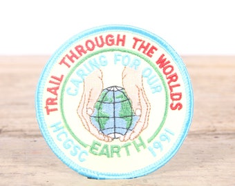 Vintage Scout Patch / 1991 Trail Through The Worlds / Caring For Our Earth Patch / Boy Scout Patch / Girl Scout Patch / Grunge Patch