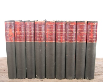 1896 Library of The World's Best Literature 9 Volume Book Set / Peale & Hill / Antique History Books / Old Books Vintage Books / Red Books