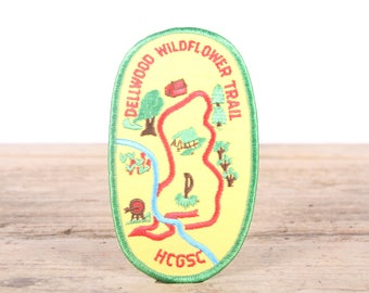 Vintage 1980s Dellwood Wildflower Trail Patch / HCGSC Scout Patch / Girl Scout Patch / Boy Scout Patch / Grunge Patch