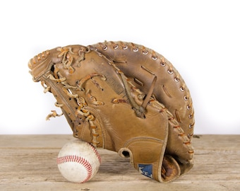 Antique Franklin Leather Baseball Glove / Old Vintage Leather Baseball Glove / Baseball Glove / Antique Baseball Glove / Baseball Room Decor