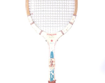 Vintage Wooden Tennis Racket / Spalding Young Star Wood Tennis Racquet  / Blue White Tennis Racket / Antique Tennis Racket / Sports Decor