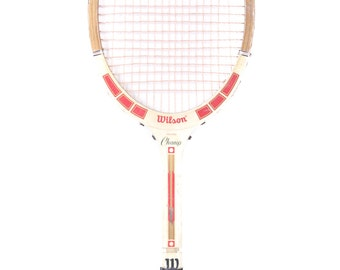 Vintage Wooden Tennis Racket / Red White Wood Tennis Racquet  / Wilson Young Champ Tennis Racket / Antique Tennis Racket / Sports Decor