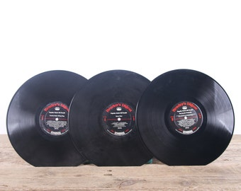 3 Vintage 33 1/3 Records / Red Vinyl Records / Antique Vinyl Records Decorations / Old Records Readers Digest Records / Music Party Decor