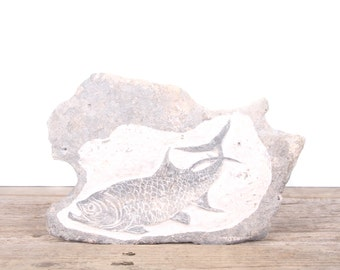 Vintage Hand-Carved Fish Rock Art / Fish Art / Fishing Decor / Unique Fishing Gift / Rustic Home Decor / Cabin Decor / Fish Picture
