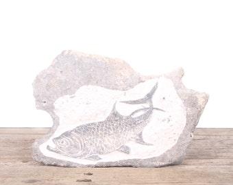 Vintage Hand-Carved Fish Rock Art / Fish Art / Fishing Decor / Unique Fishing Gift / Rustic Home Decor / Cabin Decor / Fish Picture